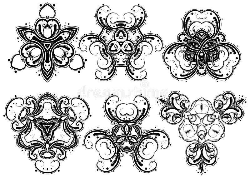 3 fantasiprydnadar royaltyfri illustrationer