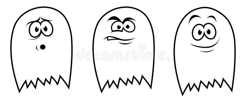 3 fantasmas stock de ilustración