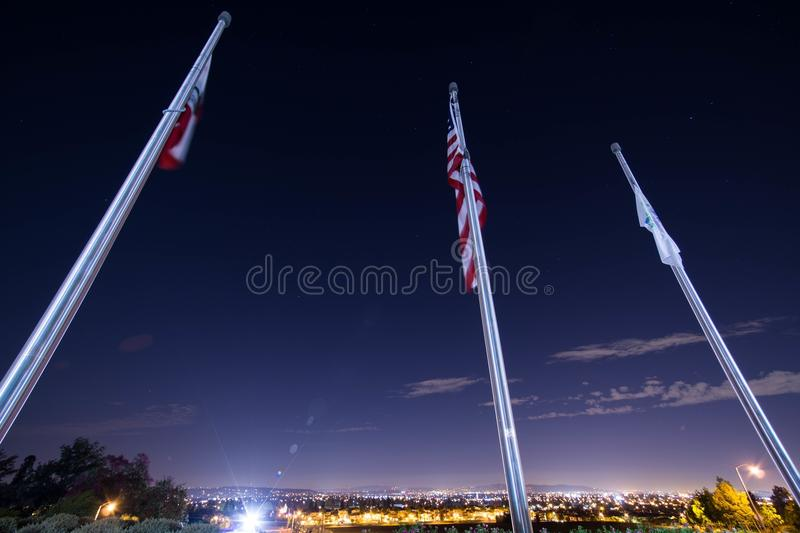 3 Flag Poles After Dark Free Public Domain Cc0 Image