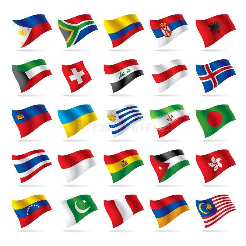 3 flagi zestaw świat royalty ilustracja