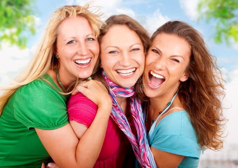 3 flickvänner royaltyfria bilder