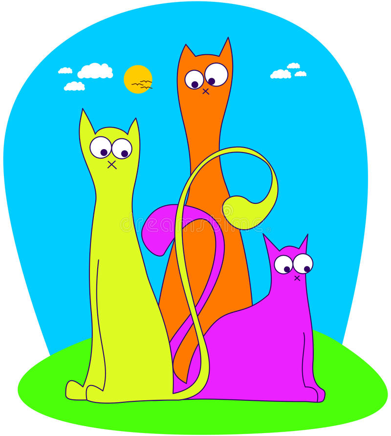 Download 3 funny cats stock vector. Illustration of funny, kitty - 9697300