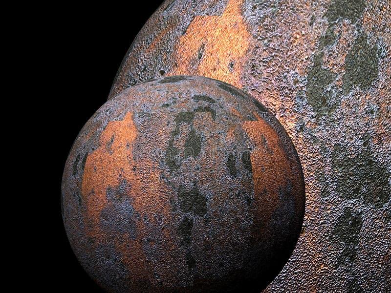 3 gammala planet för metall stock illustrationer