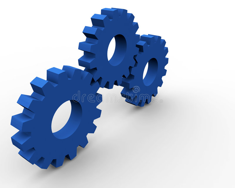 3 gears. 3d gear concept render (3 gears royalty free illustration