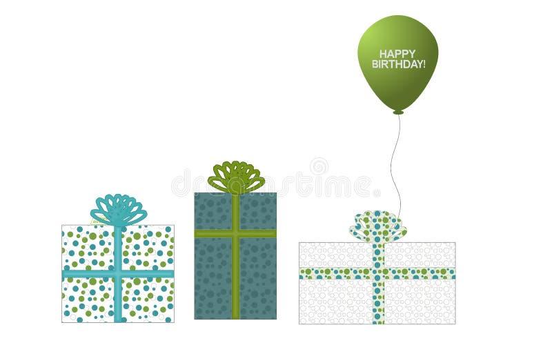 3 Geschenke und ein Ballon lizenzfreie stockfotos