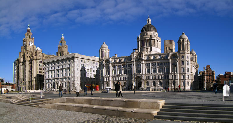 The 3 graces, liverpool water front royalty free stock image