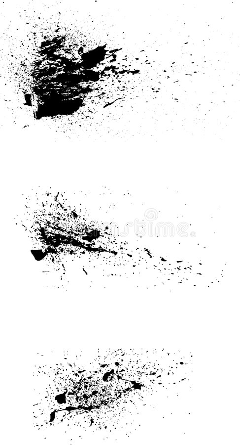 3 grunge paint spatters vector vector illustration