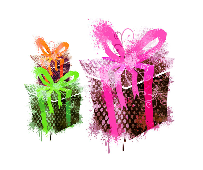 3 grungy gifts stock illustration