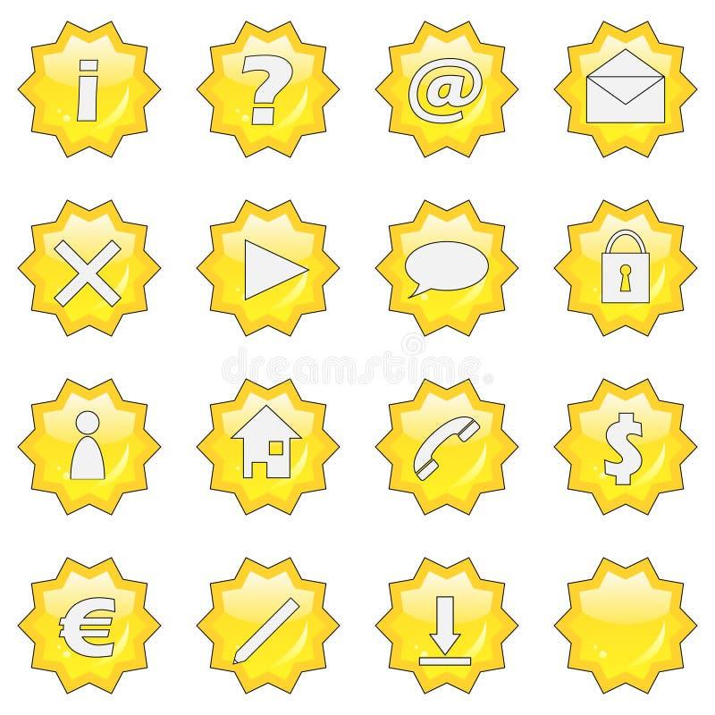 3 guzików 16 ikony zestawy gwiazdy sieci royalty ilustracja