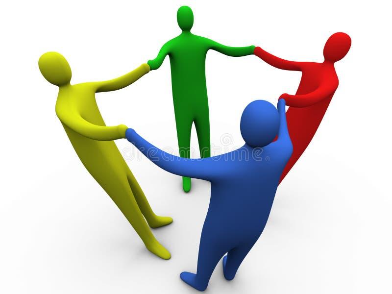3 händer som 3d rymmer folk vektor illustrationer