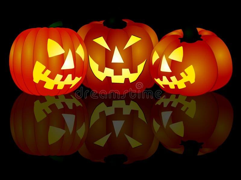 3 halloween pumpor stock illustrationer
