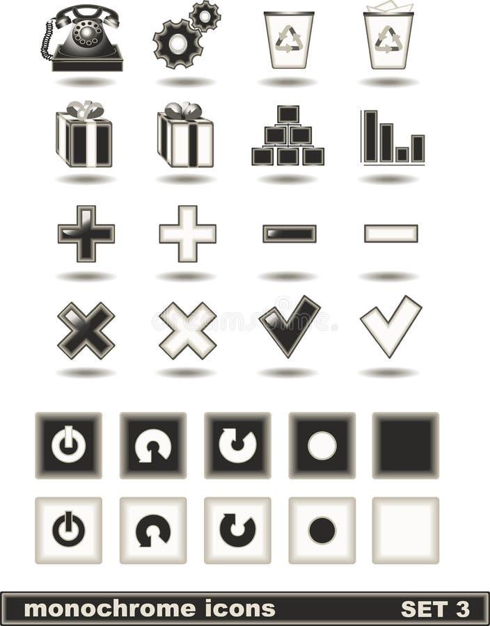 3 ikon monochromu set fotografia stock