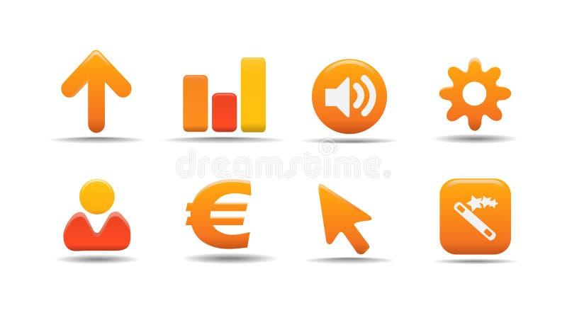 3 ikony dyniowej serii ustalają sieci ilustracja wektor