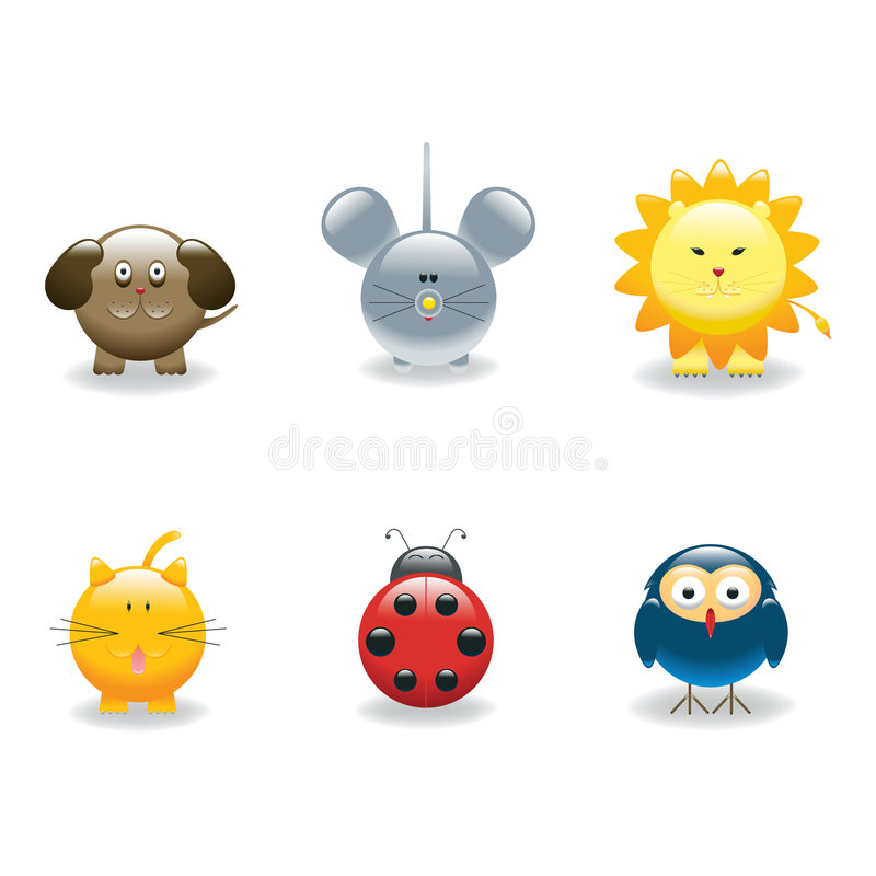 3 ikony zwierząt royalty ilustracja