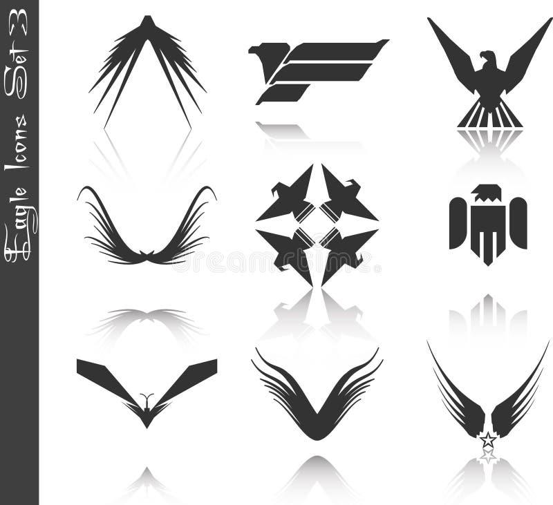 3 inställda örnsymboler vektor illustrationer
