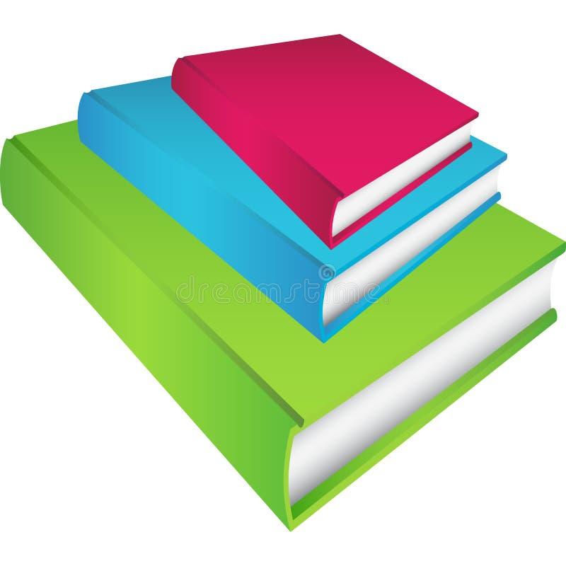 3 inställda böcker vektor illustrationer