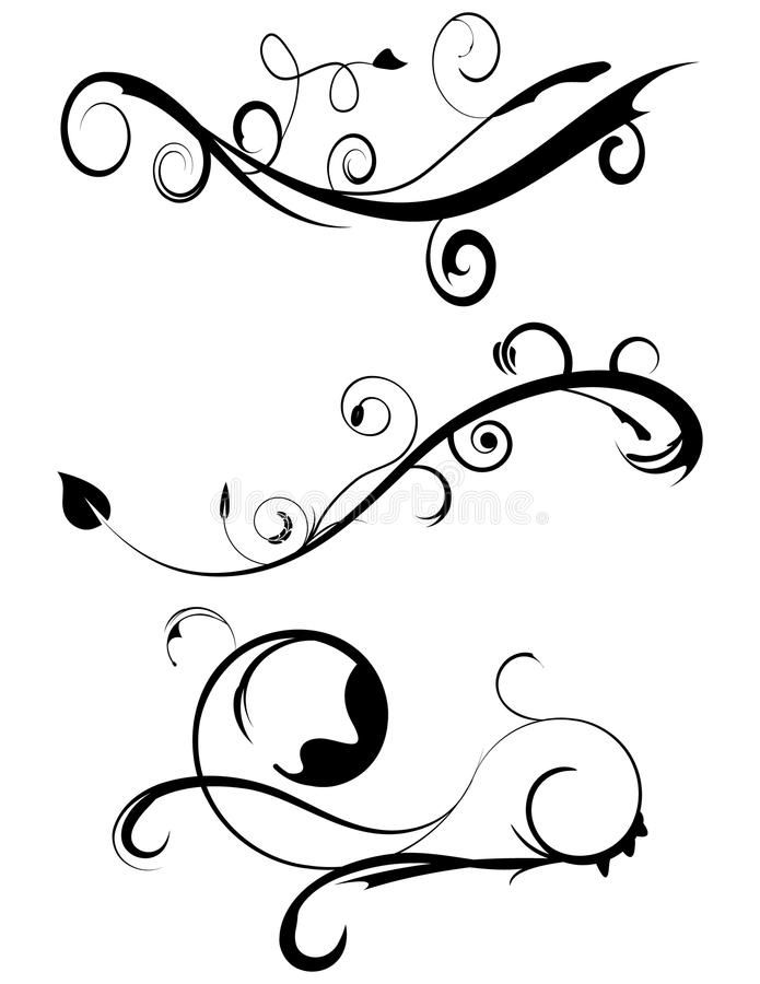 3 inställda dekorativa krusidullar royaltyfri illustrationer
