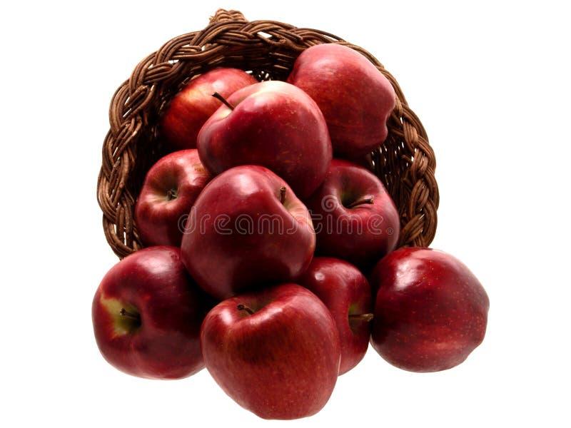 3 jedzenie jabłek 4 koszyka fotografia stock