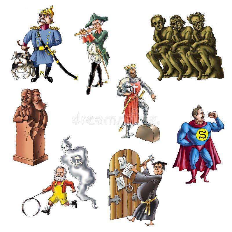 3 kändisar germany royaltyfri illustrationer