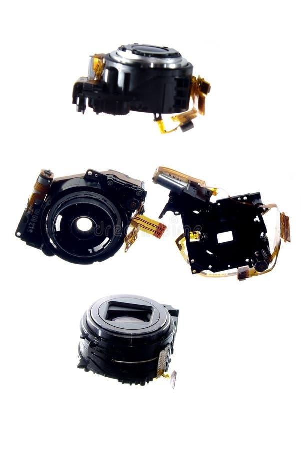 3 kamery cyfrowych odosobnionych obiektywu mechanika małego obrazy stock