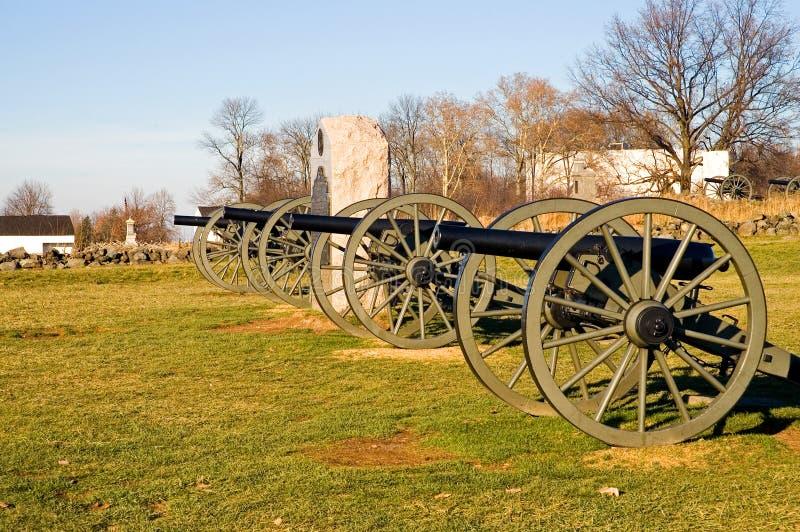 3 kanon gettysburg royaltyfria bilder