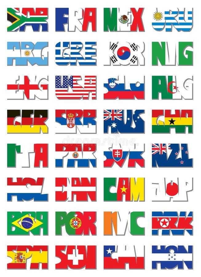 3 kodflaggor letter national stock illustrationer