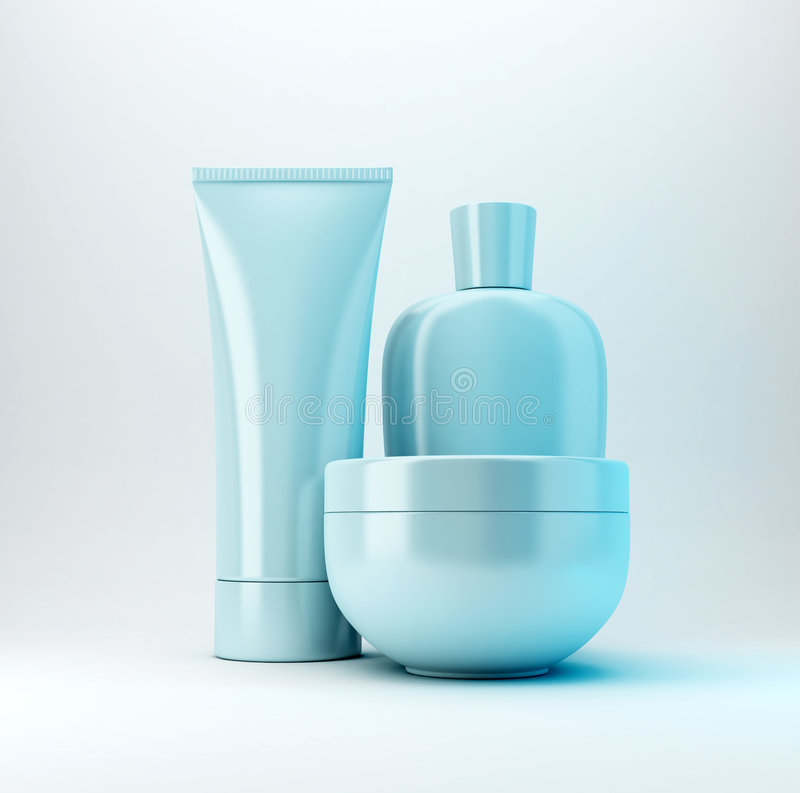 3 kosmetiska produkter royaltyfri foto