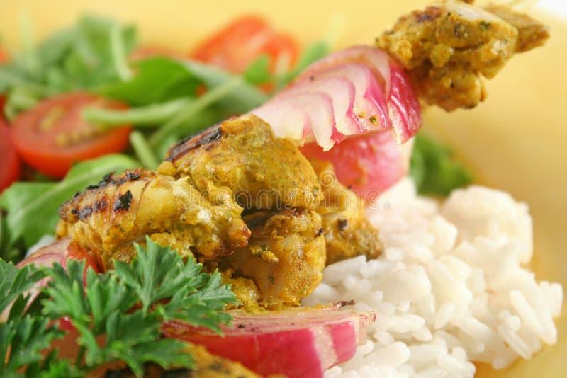 3 kurczaka tandoori skewers zdjęcie stock