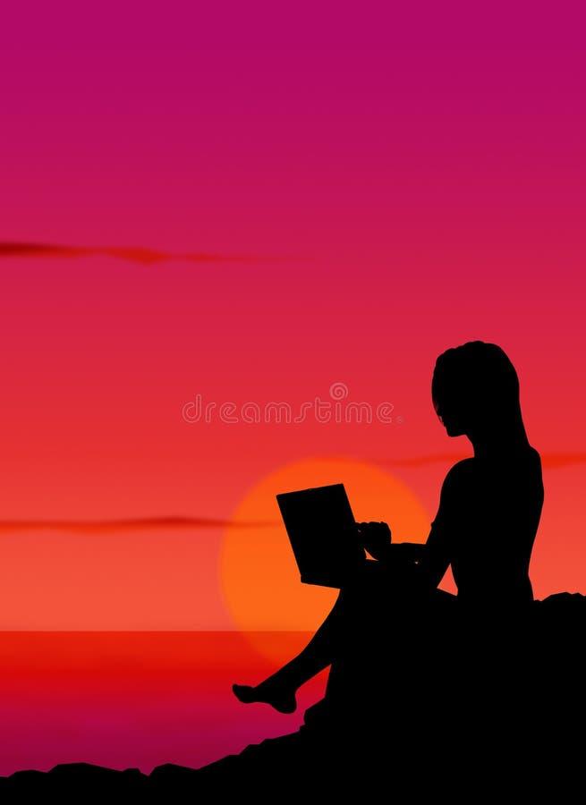 3 laptopa dziewczyn. ilustracji