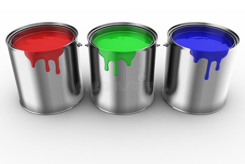 3 latas da pintura ilustração stock