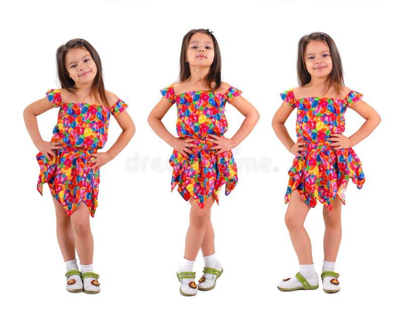 3 little girl in short dress stock image