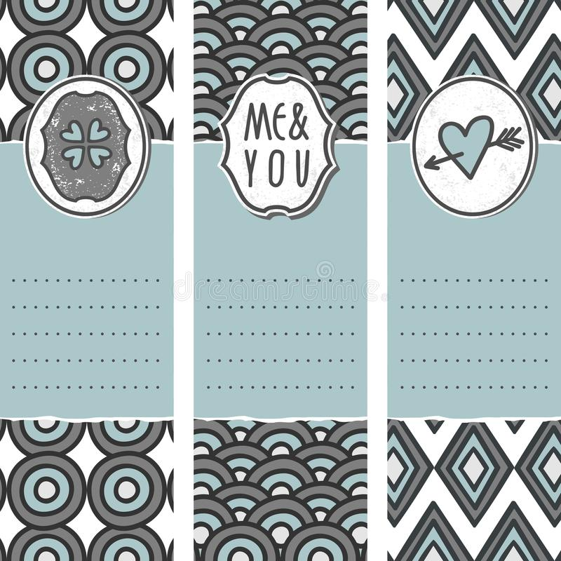 Download 3 Long Valentines Day Cards Circle Wave Diamond Stock Vector - Image: 28781343