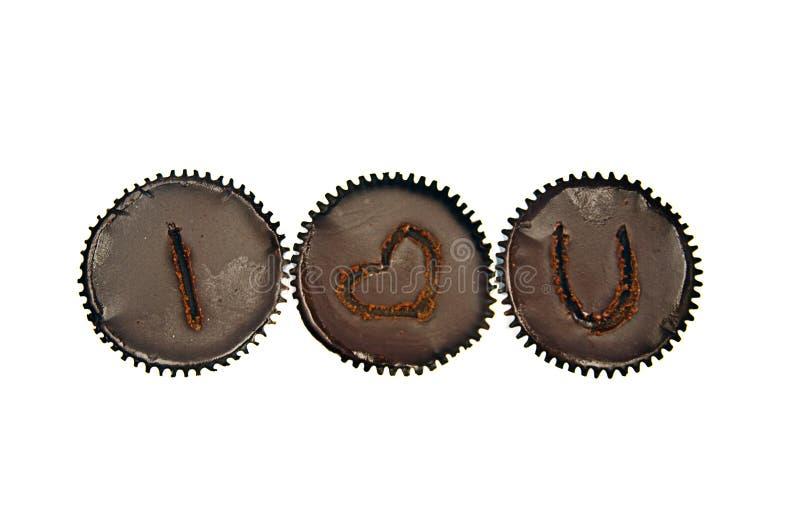 3 love chocolate cakes row royalty free stock photo