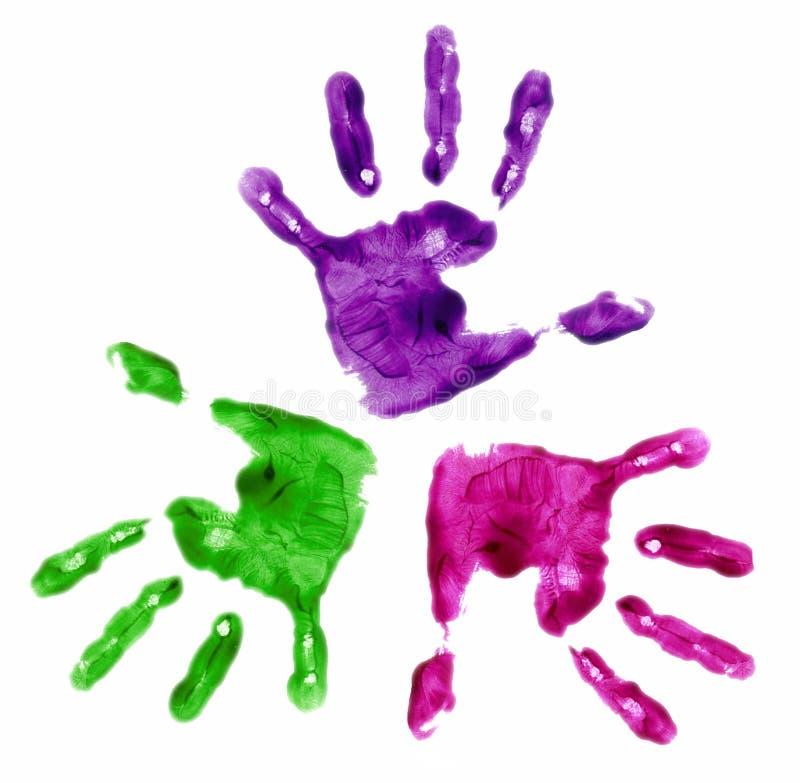 3 mãos pintadas dedo fotografia de stock