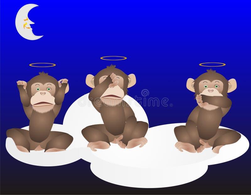 3 macacos, não vêem, ouvem e falam nenhum mal. ilustração stock