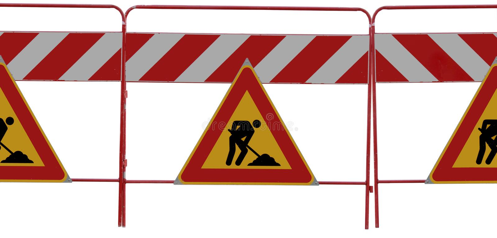 3 man at work Road signs on white stock image