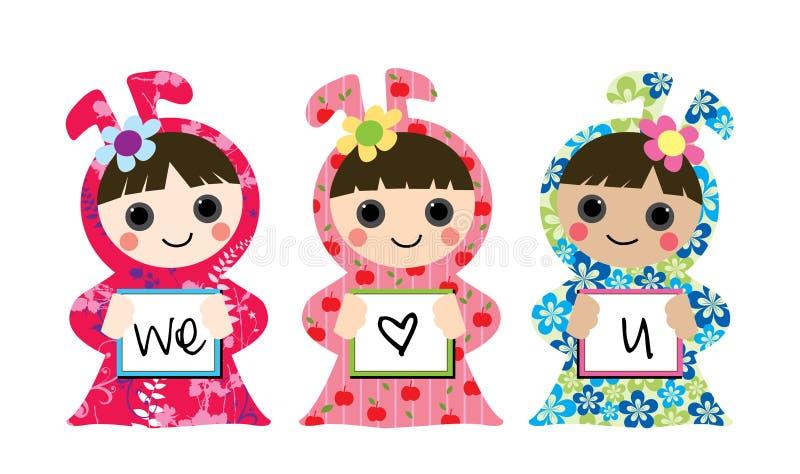 3 meninas com amor ilustração royalty free