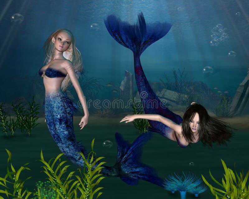 3 mermaids иллюстрация штока