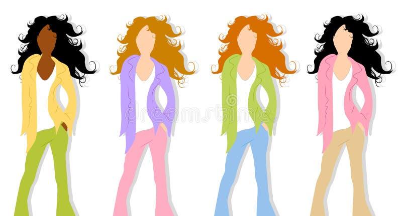 3 modeli mody wiosny ilustracja wektor