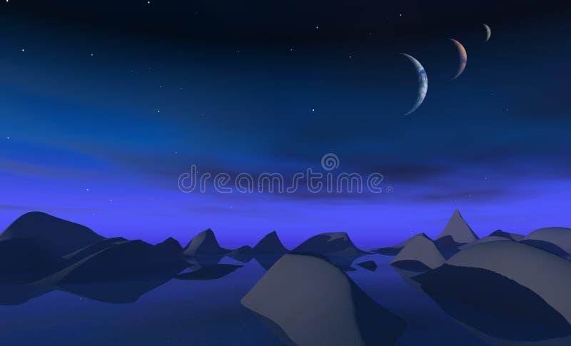 3 moons royalty free illustration