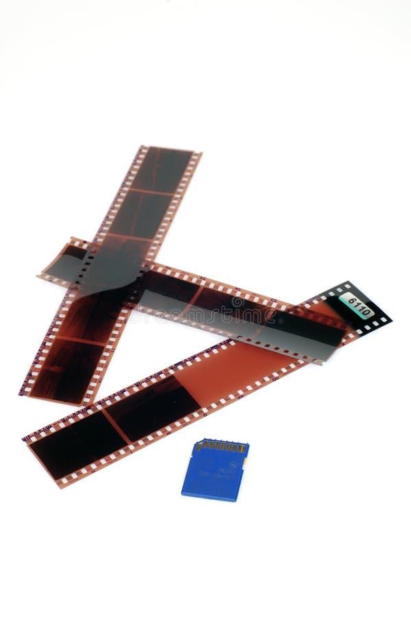 3 negatives and SD memory card royalty free stock photos