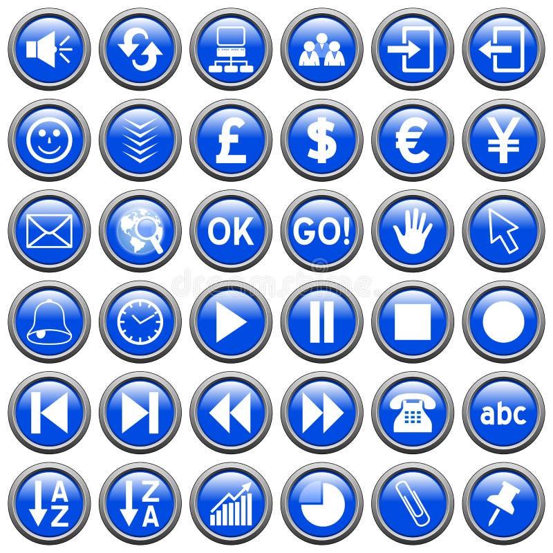 3 niebieskich guzików runda sieci ilustracji
