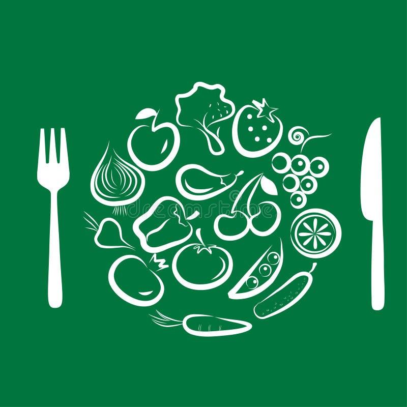 3 olika fruktgrönsaker vektor illustrationer