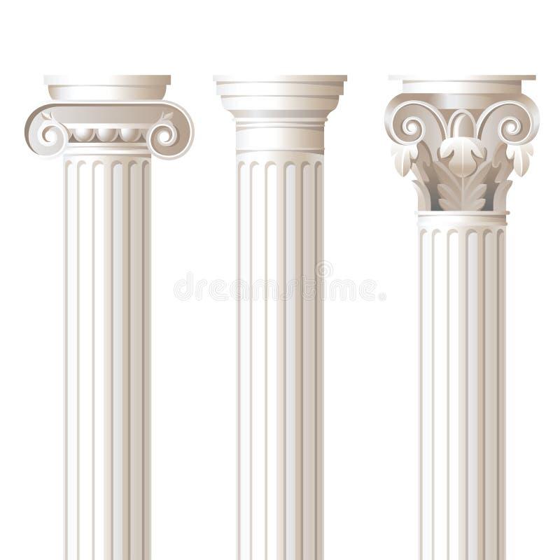3 olika stilar för kolonner royaltyfri illustrationer