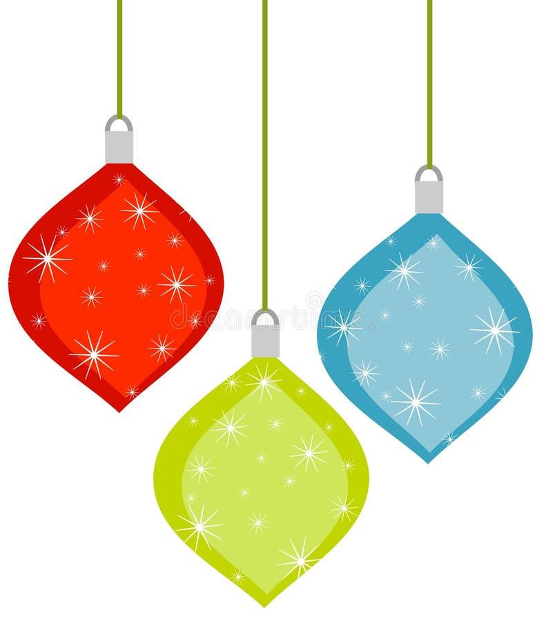 3 ornamentos retros de la Navidad stock de ilustración