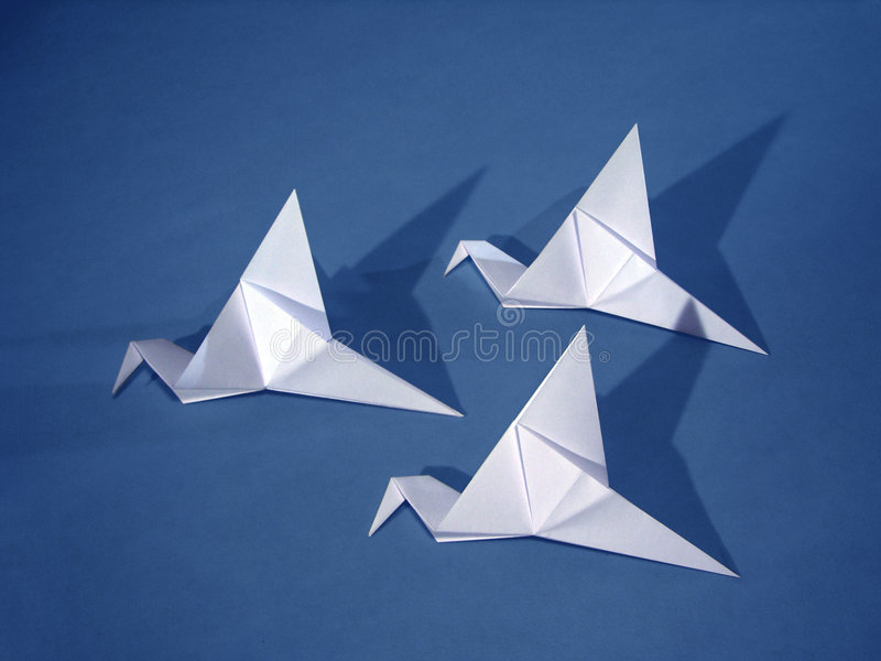 3 paper birds stock photos