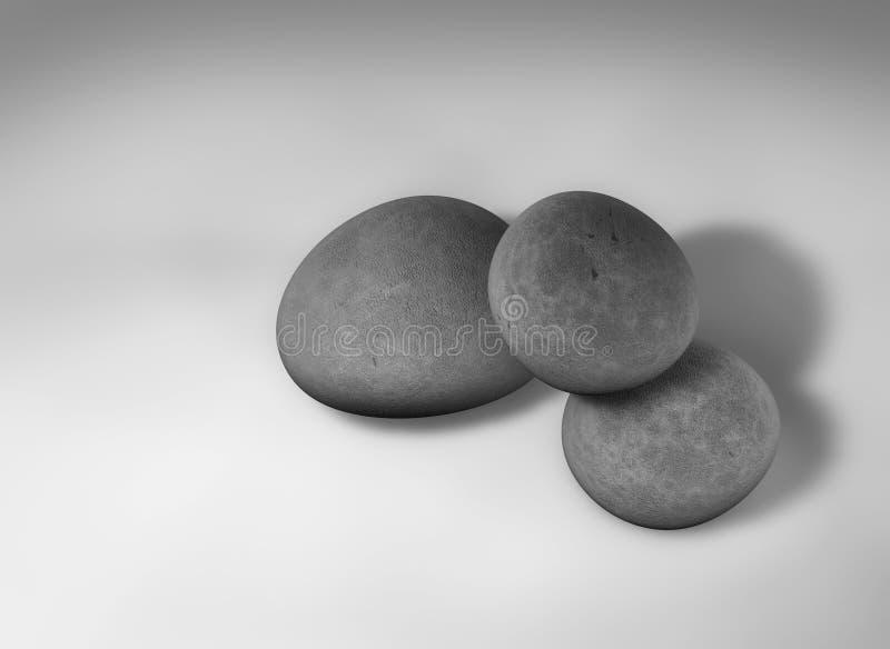 3 pebbles vektor illustrationer