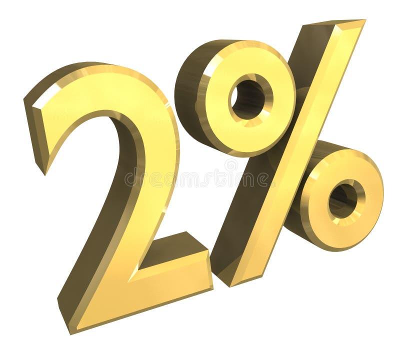 3 per cento in oro (3D) illustrazione di stock