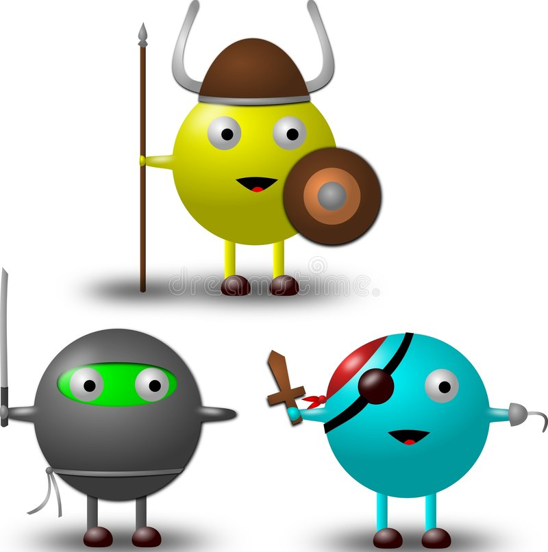 3 personagens de banda desenhada no vetor dos trajes imagens de stock