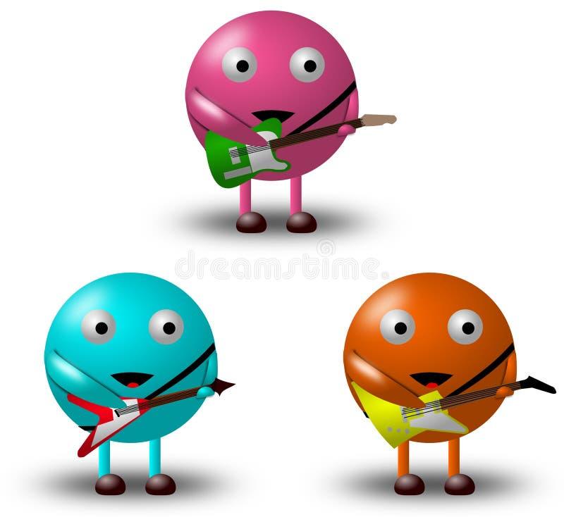 3 personaggi dei cartoni animati con le chitarre -2/2 immagini stock libere da diritti